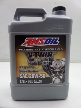 Amsoil 100% Synthetic Harley V-Twin Motorcyle Motor Oil 20W-50 3.7L 1 US Gallon